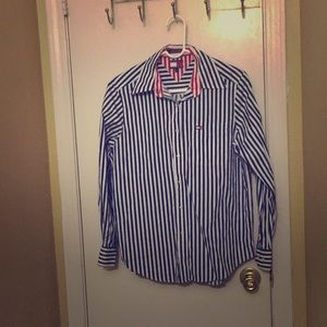 Blue and White pin stripe Button down Tommy Shirt